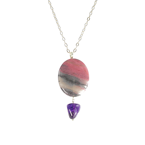Rhodonite and Amethyst pendant