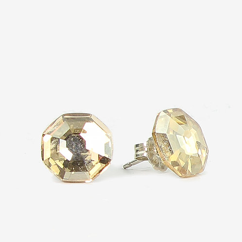 10mm Swarovski  Crystal Hexagon Earrings - Gold Shadow