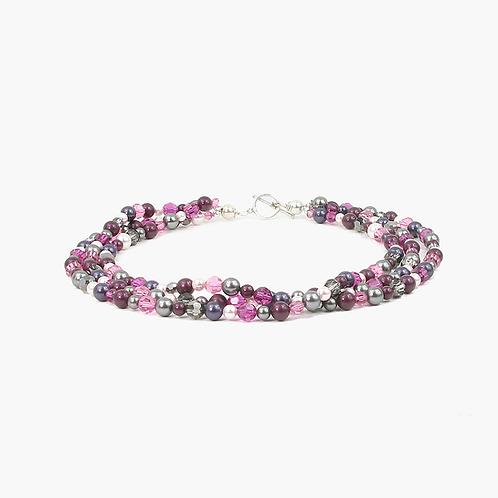 Multi-strand Crystal necklace - Deep Amethyst