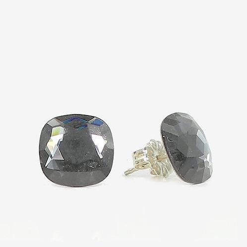 10mm Swarovski Crystal Cushion Stud Earrings - Silver Night