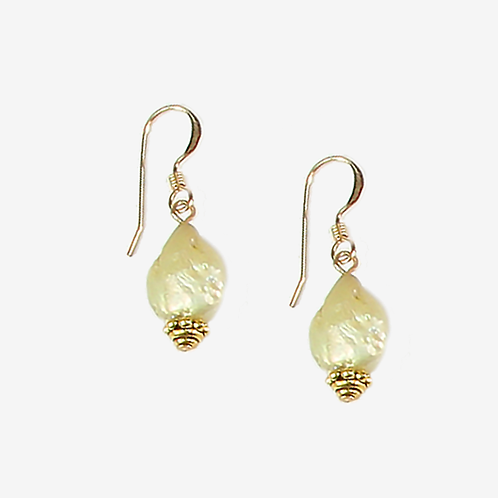 Soft Old Gold Freshwater Pearl earrings