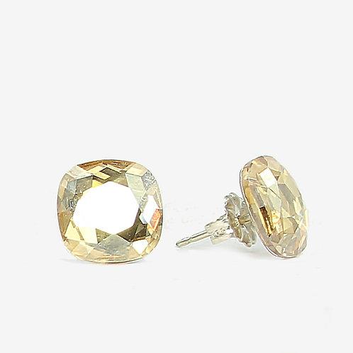 10mm Swarovski Crystal Cushion Earrings - Gold Shadow