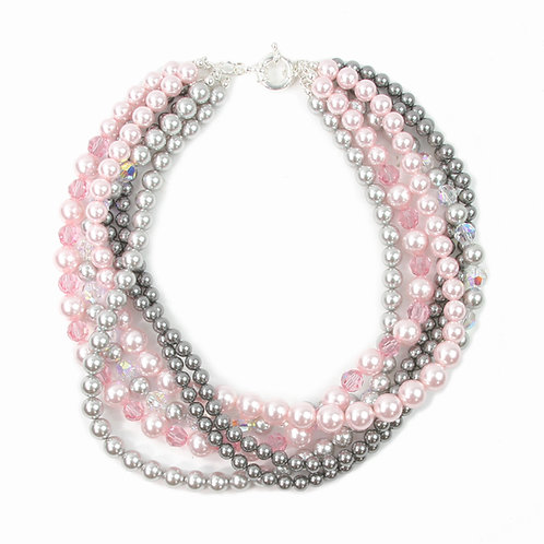 Detachable Multi-strand  Summer Pinks & Grey necklace
