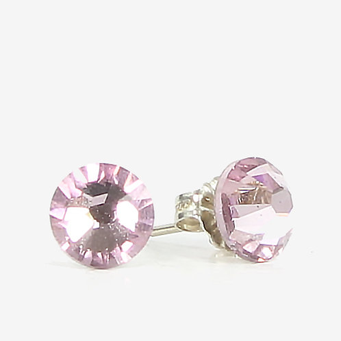 7mm Crystal Stud Earrings - Light Amethyst