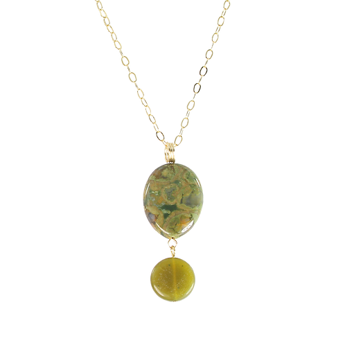 Rainforest Jasper and Lemon Jade pendant