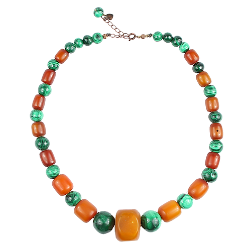 Malachite and Amber necklace