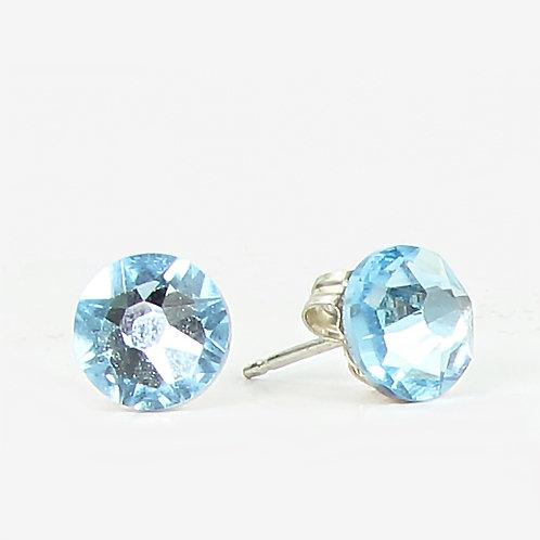 7mm Swarovski Crystal Stud Earrings - Aqua