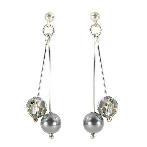 Swarovski Pearl & Crystal double drop earring
