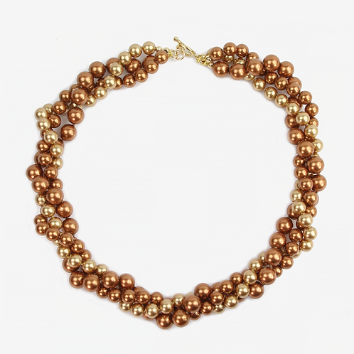Crystal Pearl Three Strand Necklace - Golden Copper