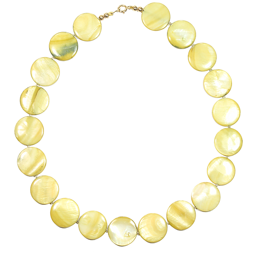 Lime Pearl Button necklace