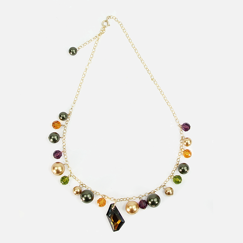Wine Autumn Leaf Charm necklace