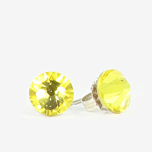 7mm Swarovski Crystal Stud Earring - Citrine