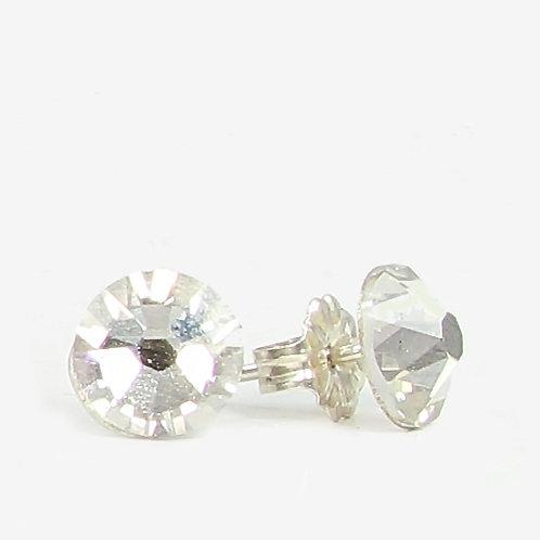 7mm Crystal Stud Earrings - Silver Shadow