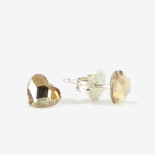 3.6mm Crystal Heart Stud Earrings - Gold Shadow