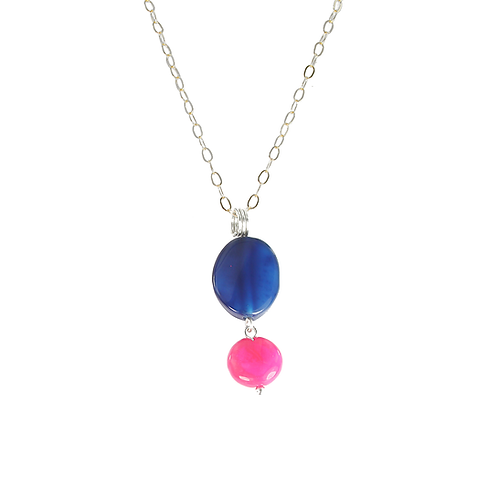 Navy and Fuchsia Banded Agate pendant