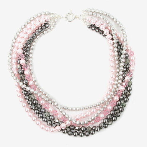 Iced Pink & Grey crystal and pearl multi-strand necklace
