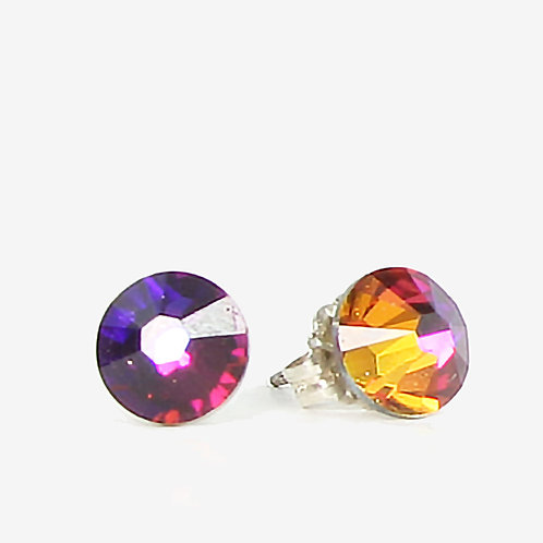 7mm Crystal Stud Earrings - Volcano