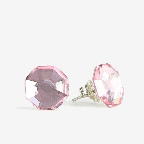 10mmm Swarovski Crystal Hexagon Earrings - Light Rose