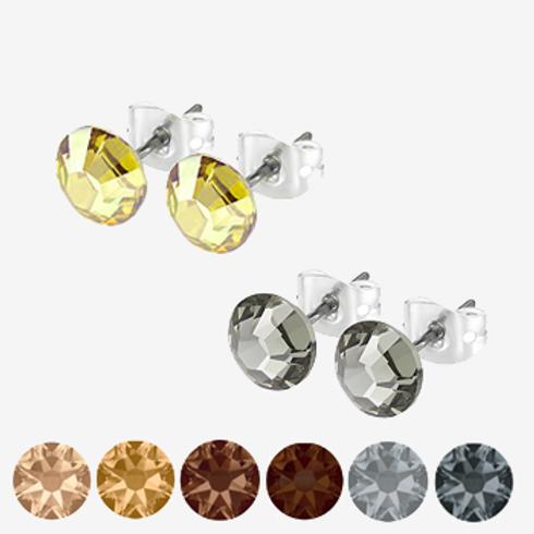 Gold, Brown & Black Stud Earrings