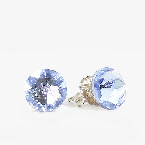 7mm Crystal Stud Earrings - Light Sapphire