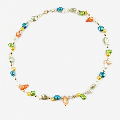 Freshwater and Keishi Pearl Flow necklace Bright Spring