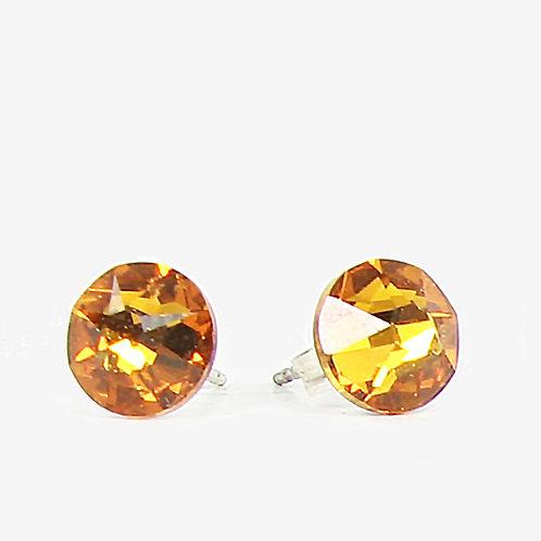 7mm Crystal Stud Earrings - Topaz