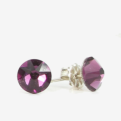 7mm Swarovski Crystal Stud earrings - Amethyst