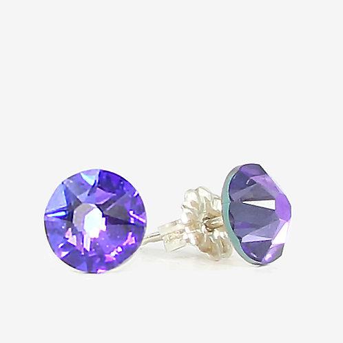 7mm Crystal Stud Earrings - Heliotrope