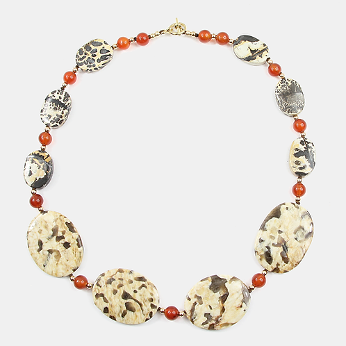 Variegated Jasper with Carnelian & !4K Gold-fill necklace