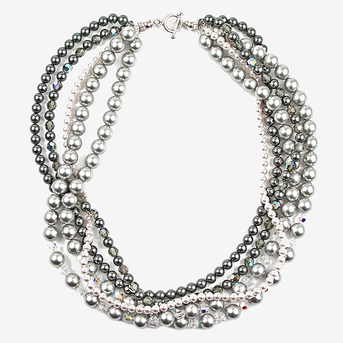 Crystal Pearl Multi-strand necklace - Greys & silver