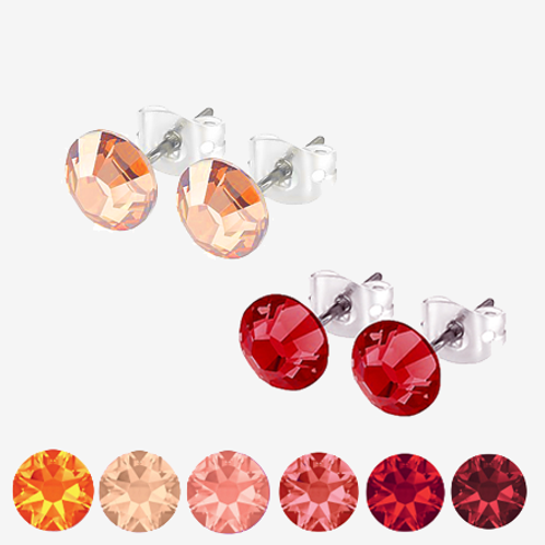 Red, peach & Orange Stud Earrings