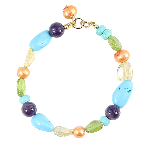 Turquoise and Amethyst Alicia bracelet