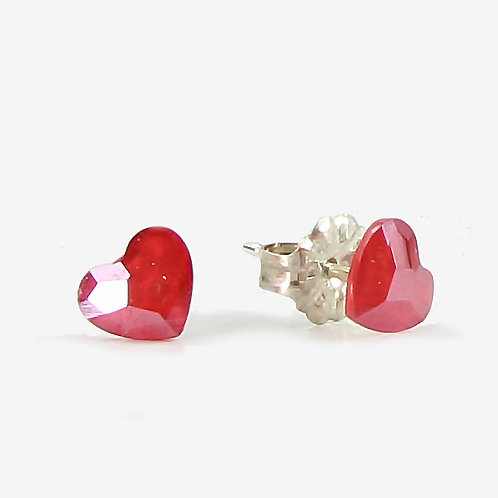 3.6mm Swarovski Crystal Heart Stud Earrings - Royal Red