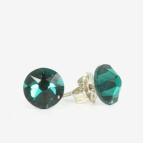 7mm Swarovski Crystal Stud Earrings - Emerald