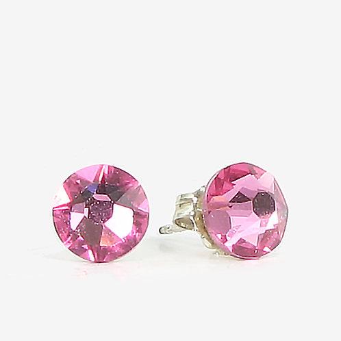 7mm Swarovski Crystal Stud Earrings - Rose