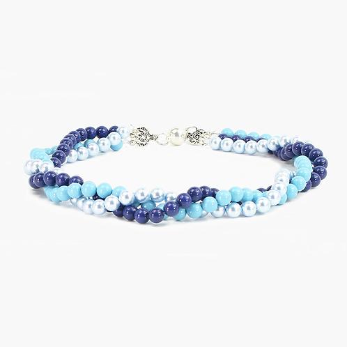 Triple Strand Swarvovski pearl necklace - Blues