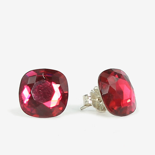 10mm Swarovski Crystal Cushion Earrings - Ruby