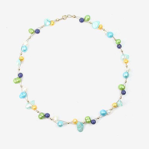 Freshwater and Keshi Pearl necklace Aqua Blues