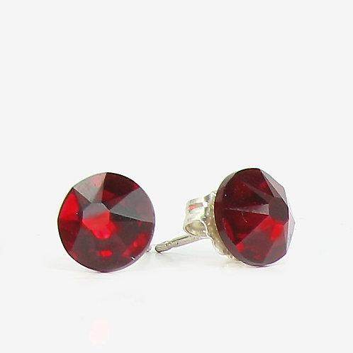7mm Crystal Stud Earrings - Siam