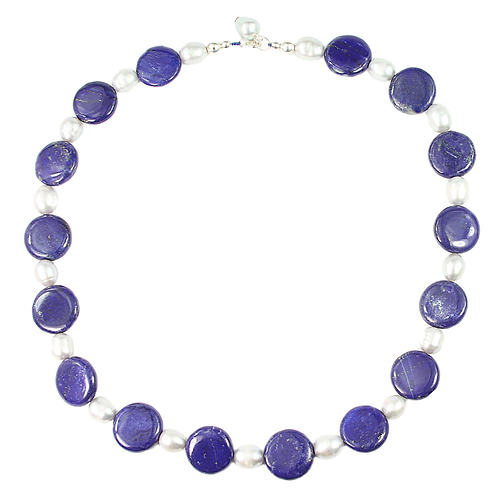Lapis Lazuli and Silver Freshwater Pearl necklace