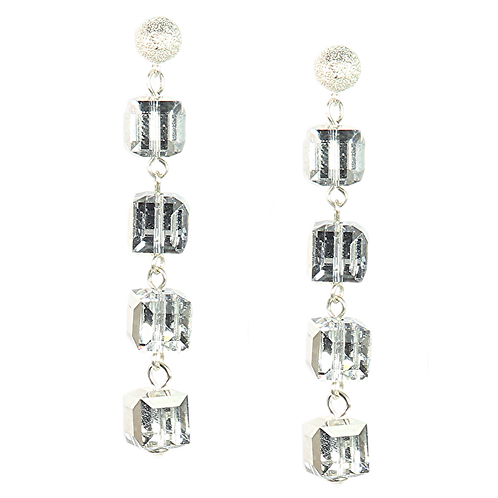 Cube drop earrings - Silver Crystal