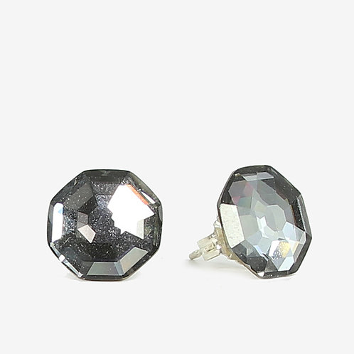 10mm Swarovski Crystal Hexagon Earring - Silver Night