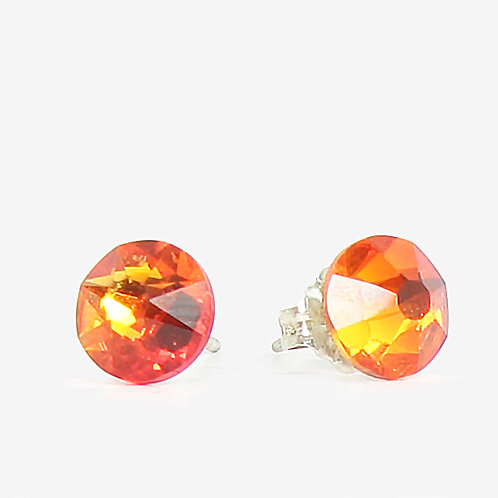 7mm Swarovski Crystal Stud Earrings - Fire Opal