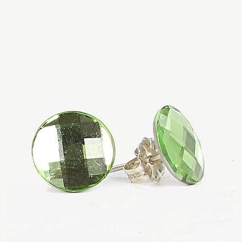 10mm Crystal Round Chessboard Earrings - Peridot