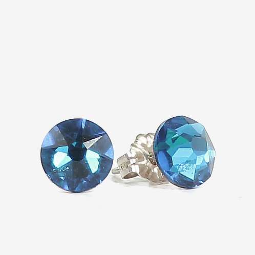 7mm Crystal Stud Earrings - Capri Blue