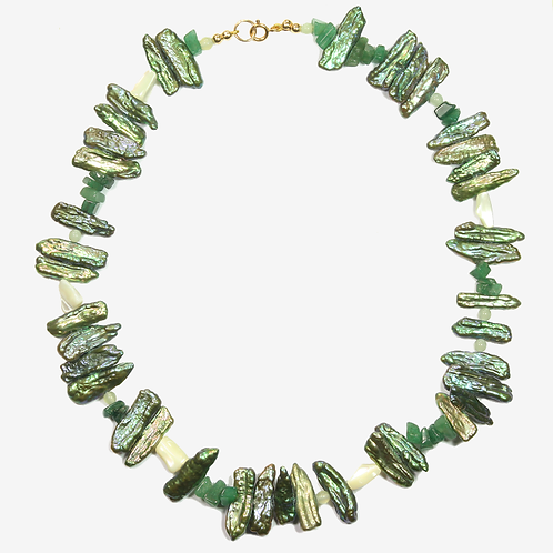Biwa Pearl, Jade and Jasper necklace