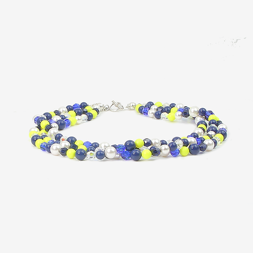 Citric Blue 3 Strand necklace