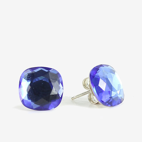 10mm Swarovski Crystal Cushion Earrings - Sapphire