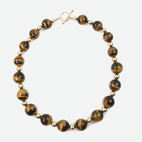 20mm Tigers Eye with 14K Gold-fill necklace