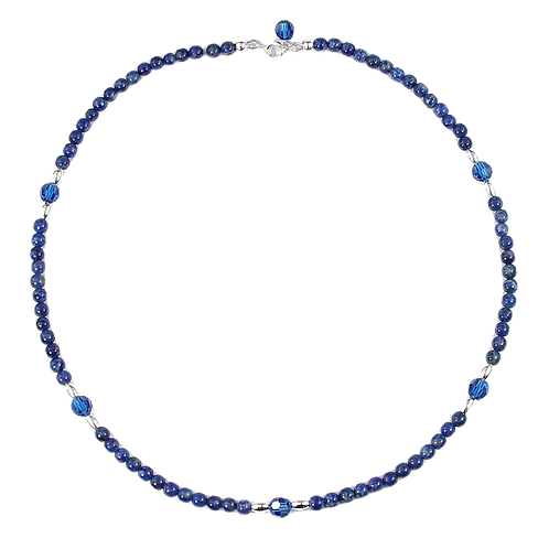 Lapis Lazuli with Swarovski crystal and sterling silver necklace